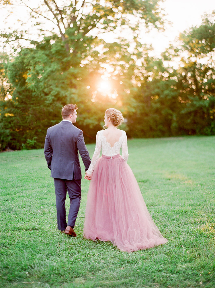 mauve tulle skirt wedding dress - photo by Julie Paisley https://ruffledblog.com/southern-summer-wedding-inspiration-with-berry-hues