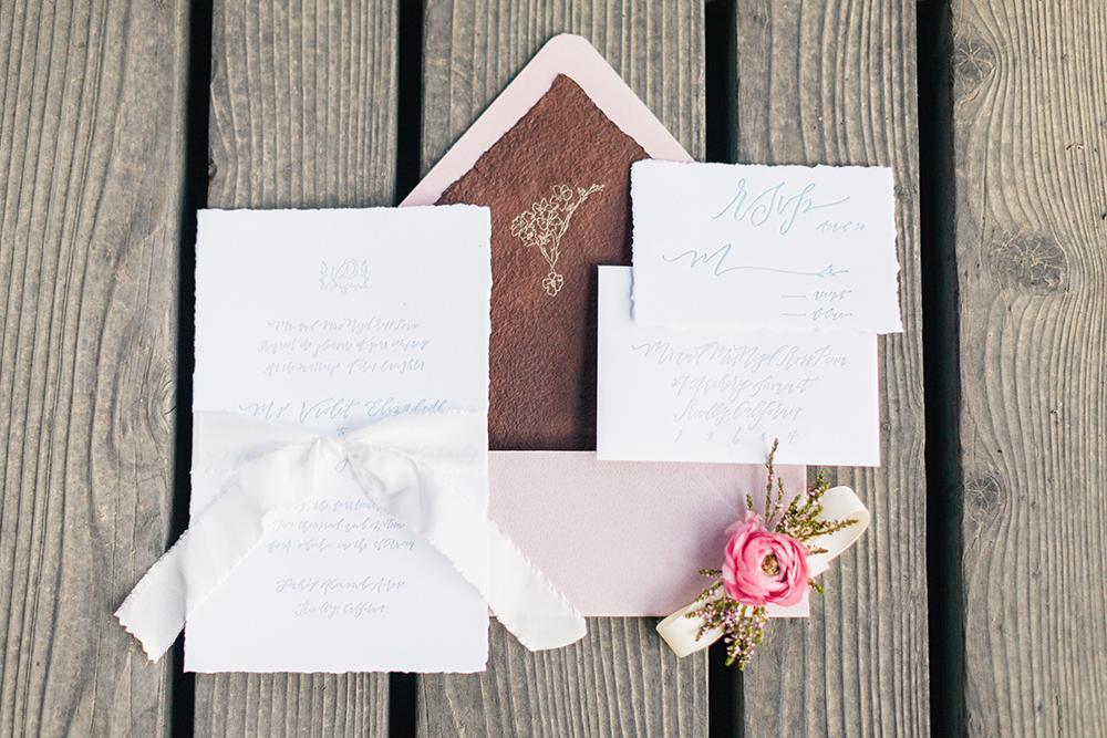 romantic wedding invitations - photo by Katie McGihon Photography https://ruffledblog.com/spring-almond-orchard-wedding-inspiration