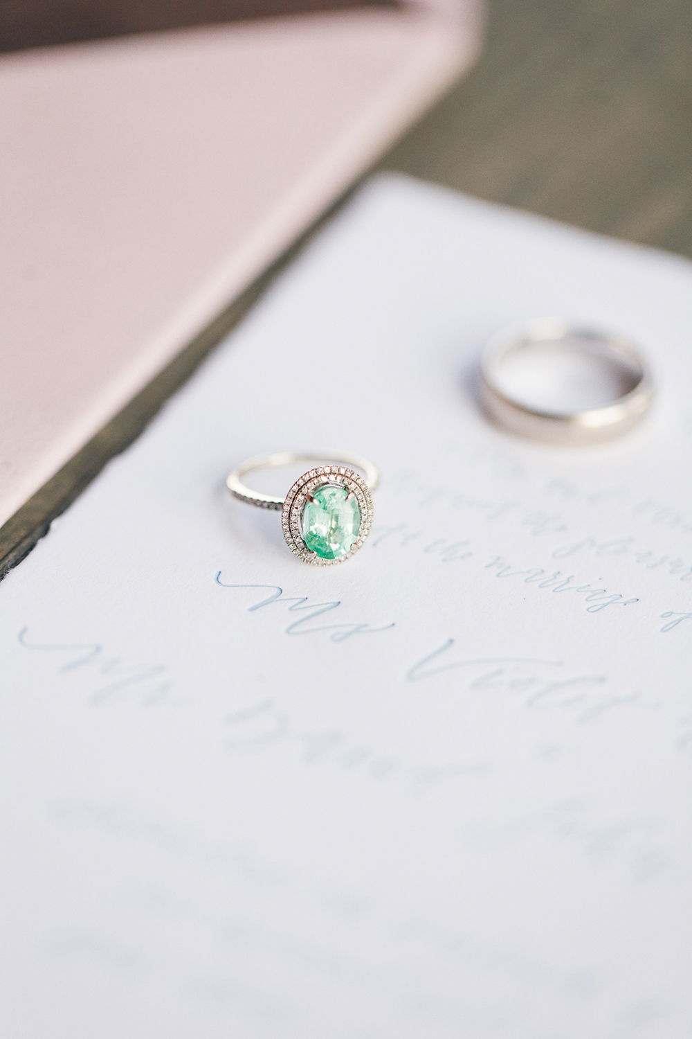 unique engagement rings - photo by Katie McGihon Photography https://ruffledblog.com/spring-almond-orchard-wedding-inspiration