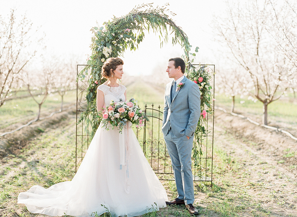 wedding inspiration - photo by Katie McGihon Photography https://ruffledblog.com/spring-almond-orchard-wedding-inspiration