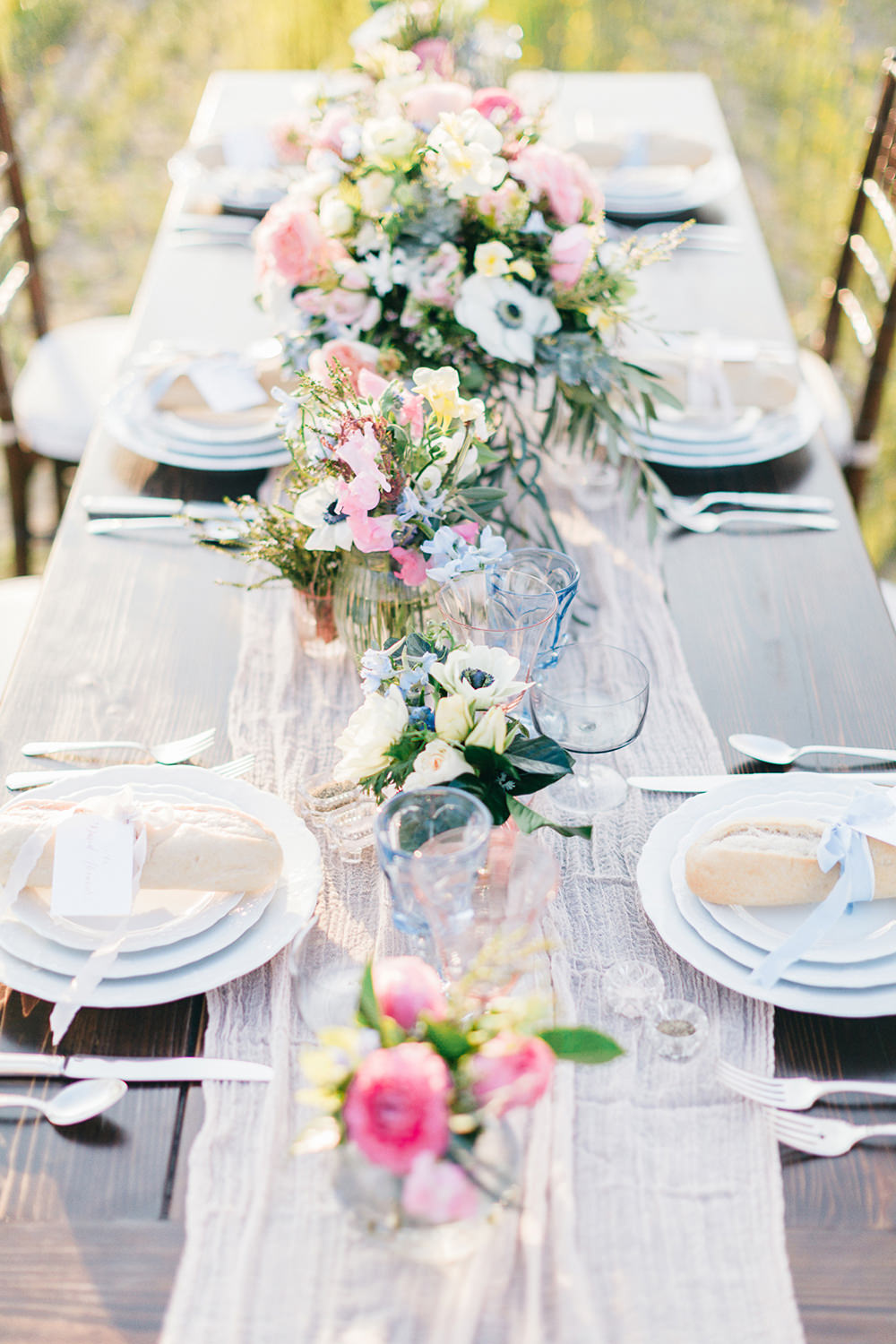 wedding tablescapes - photo by Katie McGihon Photography https://ruffledblog.com/spring-almond-orchard-wedding-inspiration