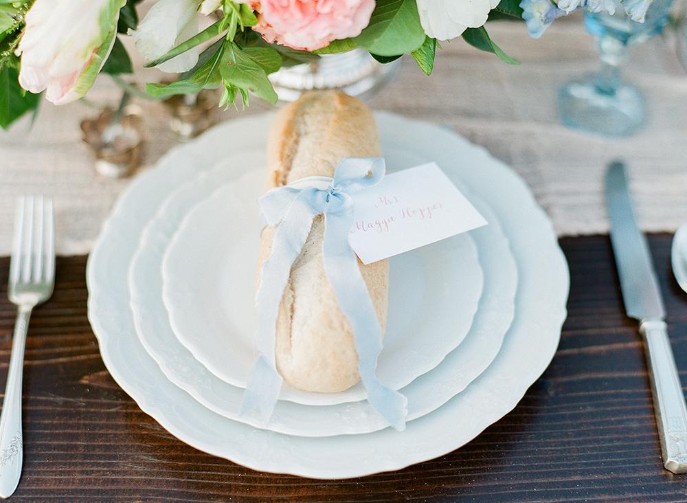 wedding place settings - photo by Katie McGihon Photography https://ruffledblog.com/spring-almond-orchard-wedding-inspiration