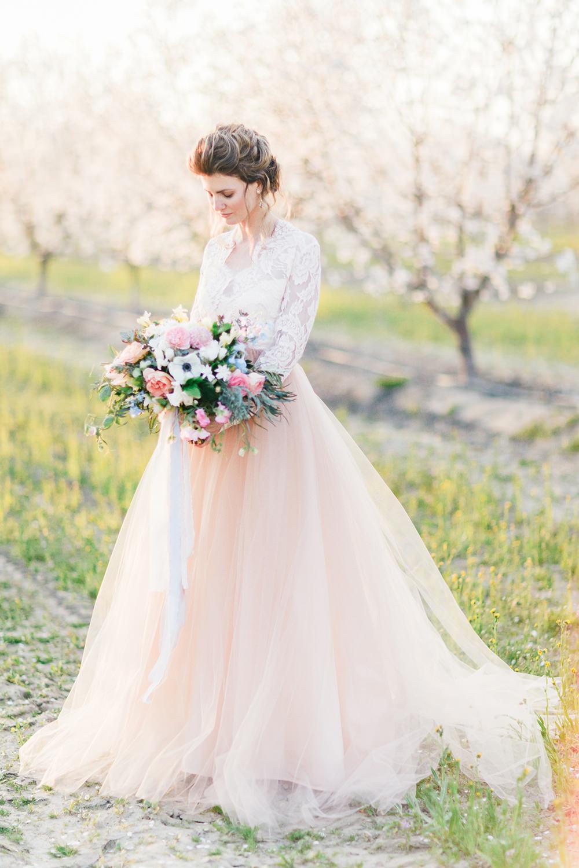 wedding fashion - photo by Katie McGihon Photography https://ruffledblog.com/spring-almond-orchard-wedding-inspiration