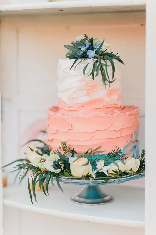peach wedding cakes - photo by Katie McGihon Photography https://ruffledblog.com/spring-almond-orchard-wedding-inspiration
