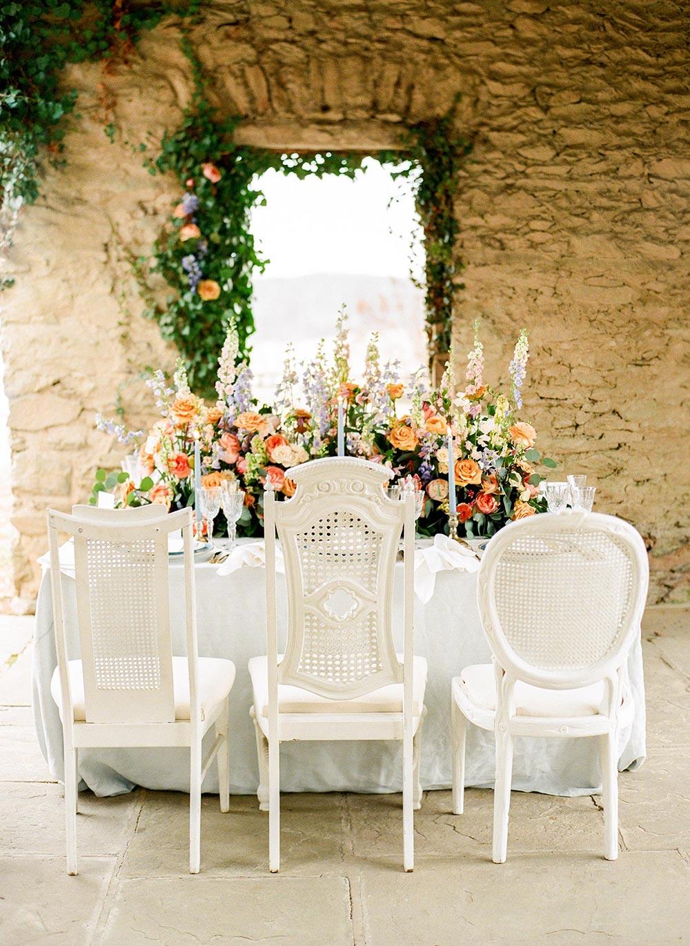 whimsical garden wedding tablescape