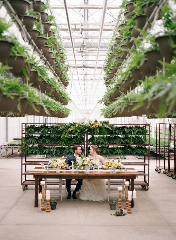 greenhouse wedding ideas - photo by Martina Wendland https://ruffledblog.com/springtime-greenhouse-wedding-inspiration