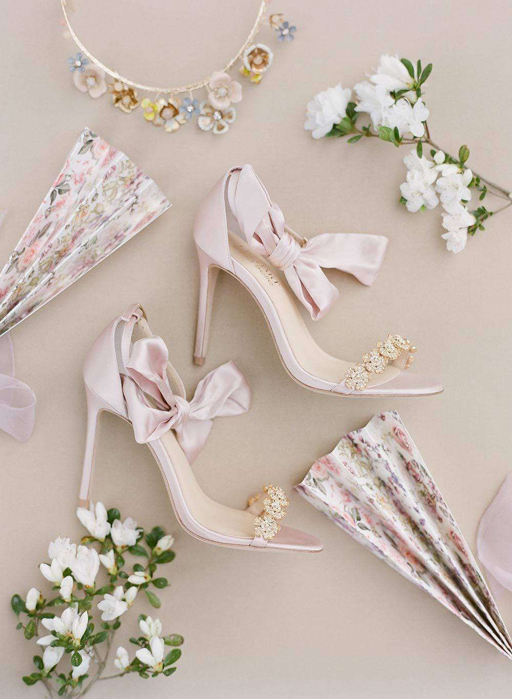 pink bridal heels with silk bows and crystal straps