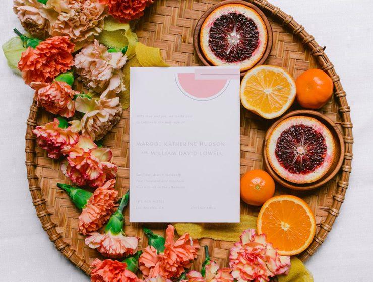 geometric color block invitation suite with modern designs