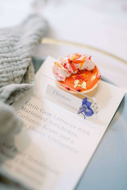 acrylic boxes with tangerine tarts wedding dessert