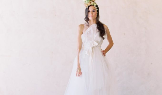 butterfly inspired wedding dress with floral headpiece