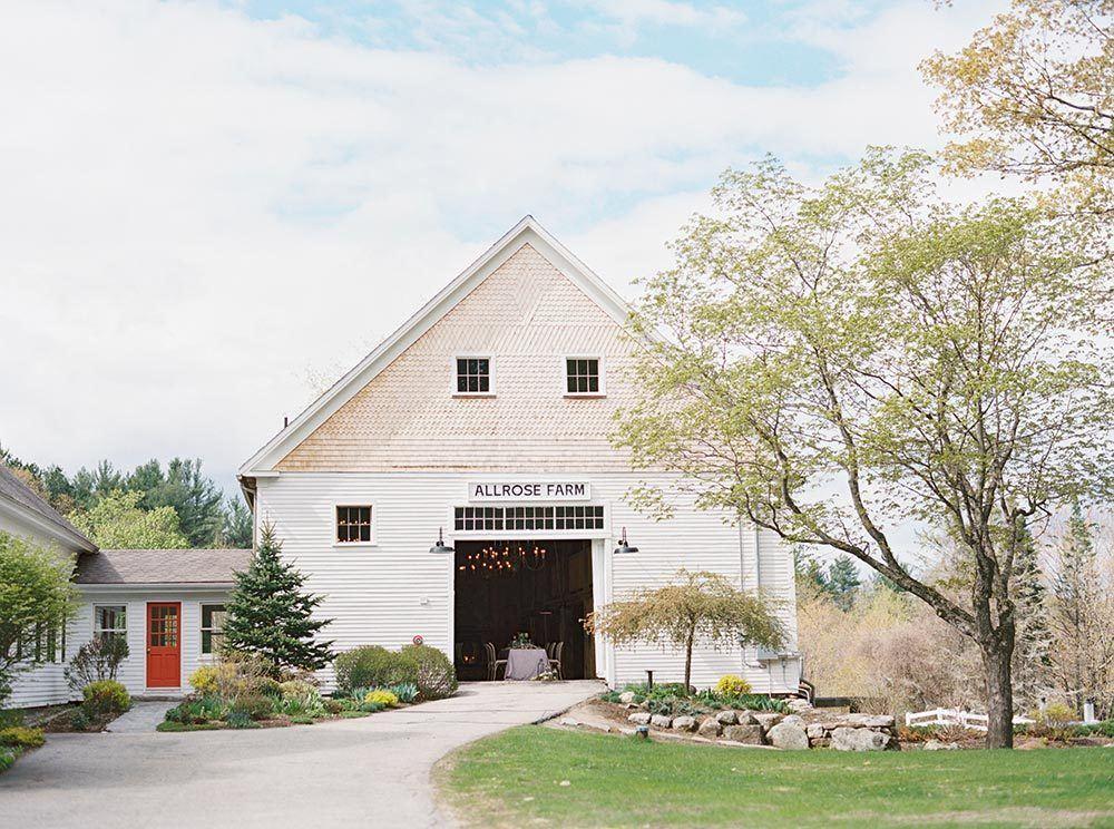 New England wedding venue with whitewashed barn
