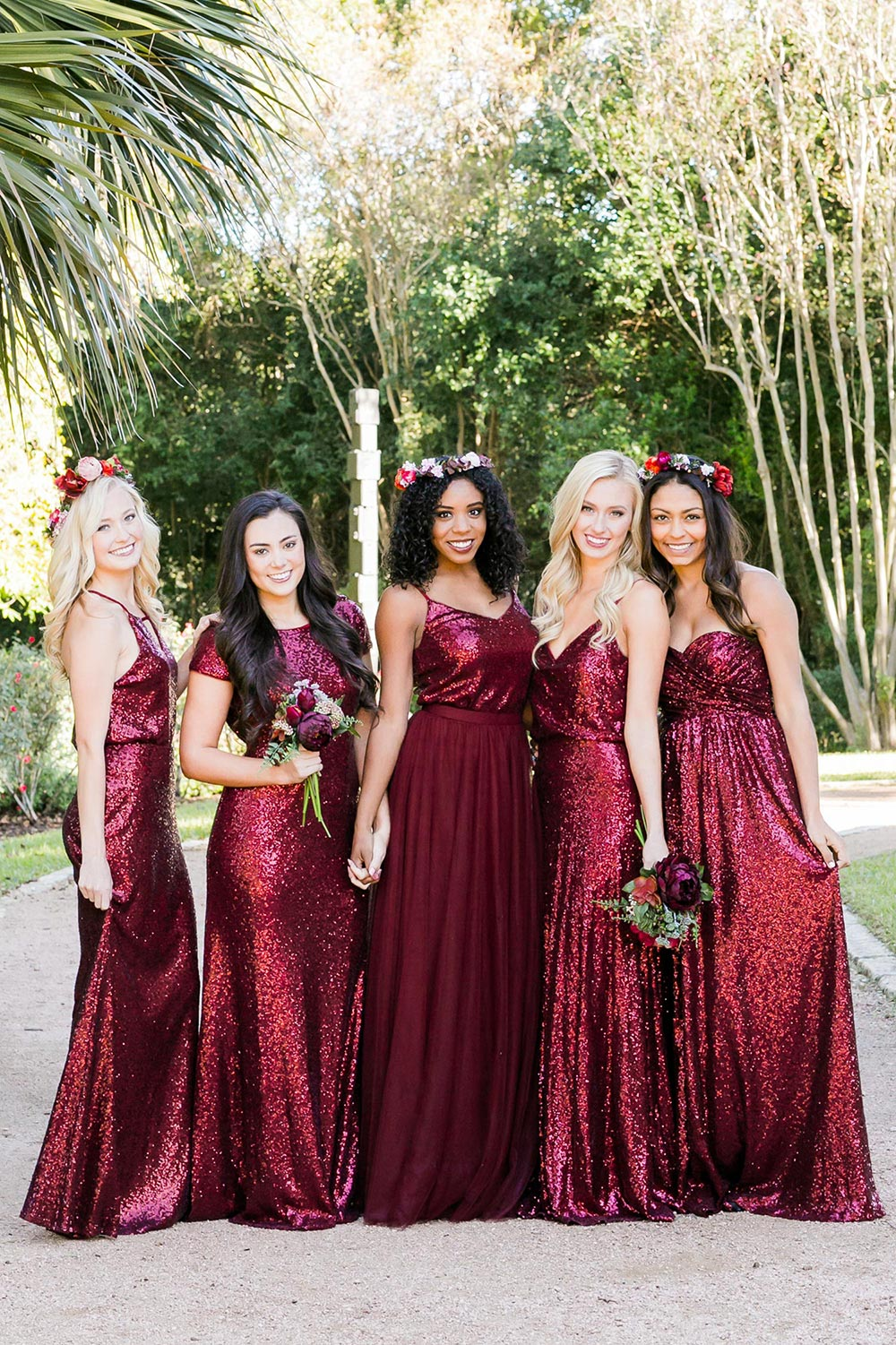 dark red sequined bridesmaid dresses