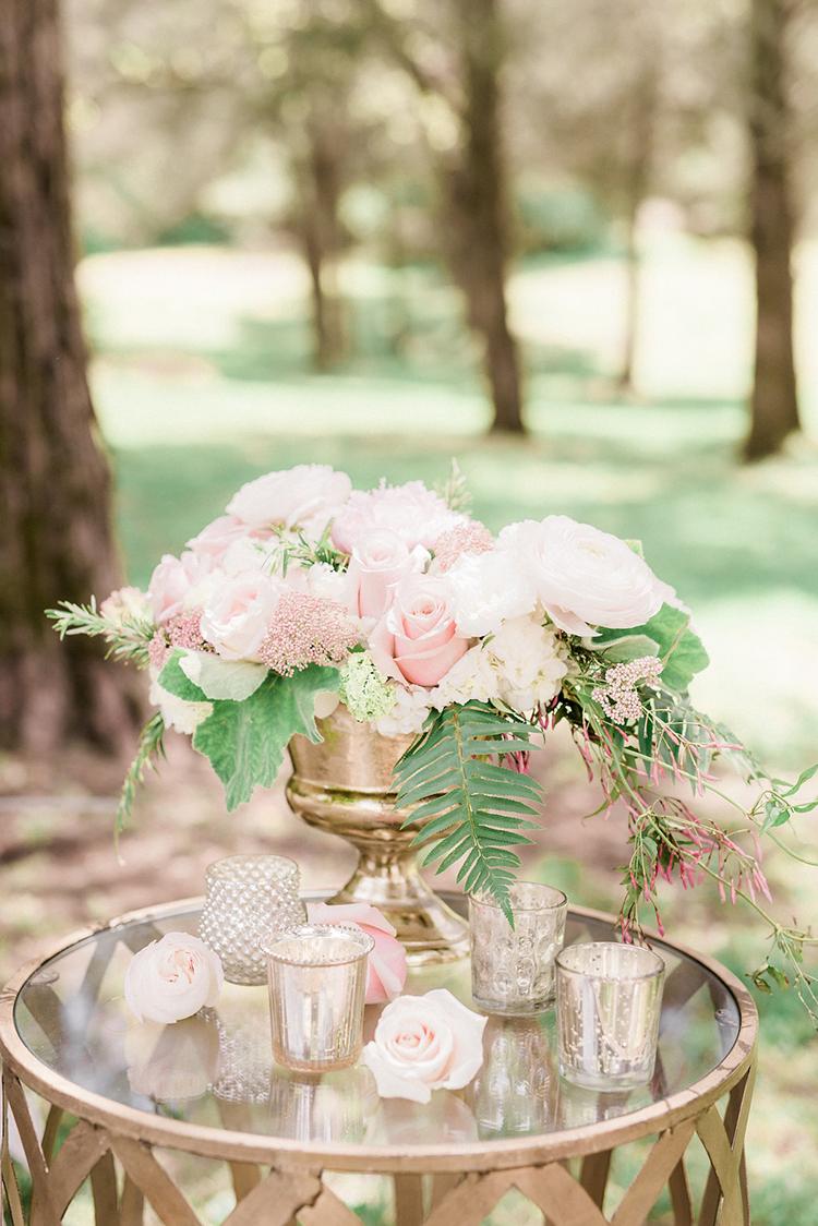 pink wedding flowers - photo by Christy Wilson Photography http://ruffledblog.com/summer-castle-soiree-wedding-inspiration
