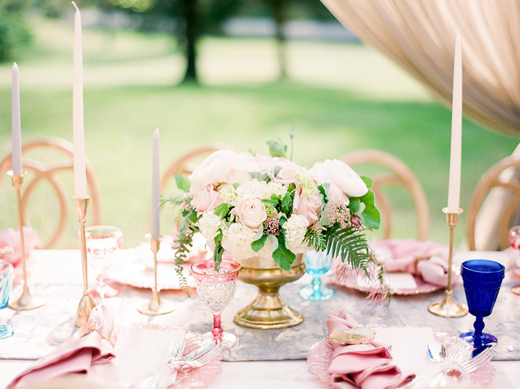 pink tablescapes - photo by Christy Wilson Photography https://ruffledblog.com/summer-castle-soiree-wedding-inspiration