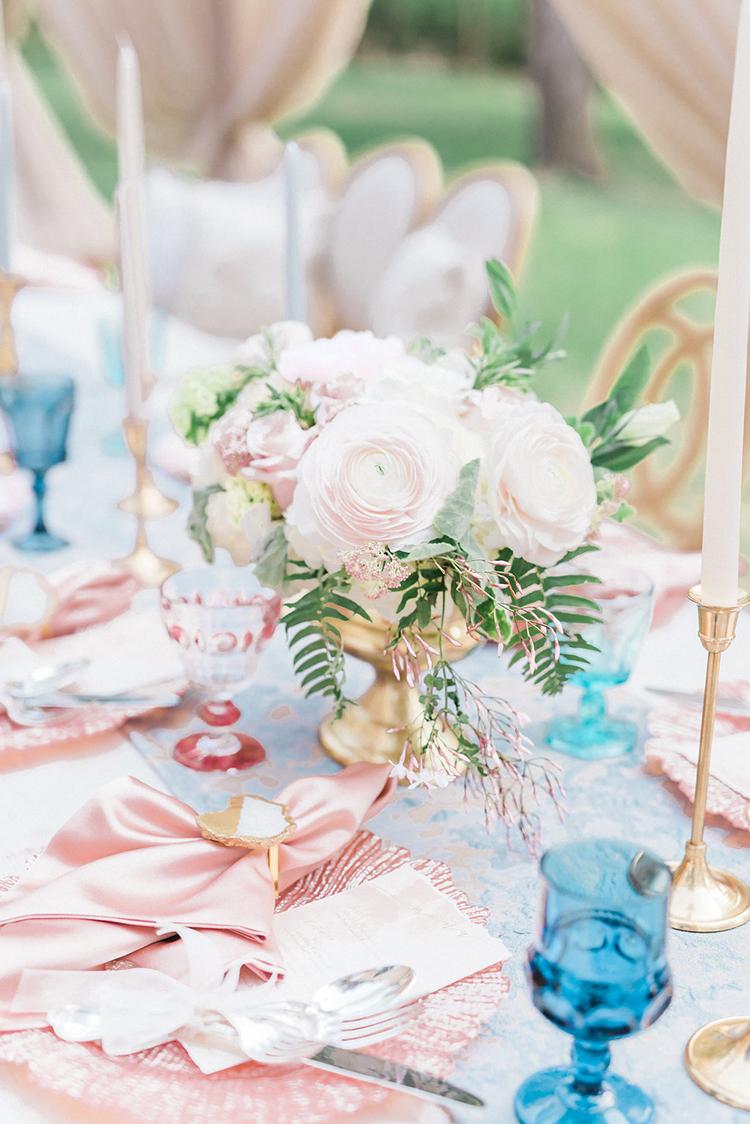 pink centerpieces - photo by Christy Wilson Photography https://ruffledblog.com/summer-castle-soiree-wedding-inspiration