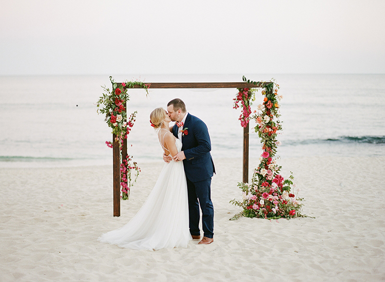 Summer Destination Wedding in Mexico with Bright Pinks - photo by Ana and Jerome https://ruffledblog.com/summer-destination-wedding-in-mexico-with-bright-pinks