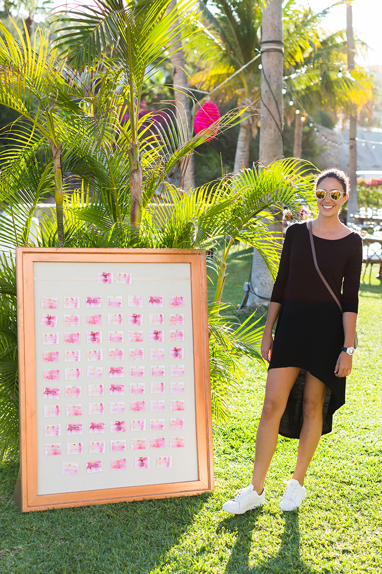 watercolor seating charts - photo by Ana and Jerome http://ruffledblog.com/summer-destination-wedding-in-mexico-with-bright-pinks