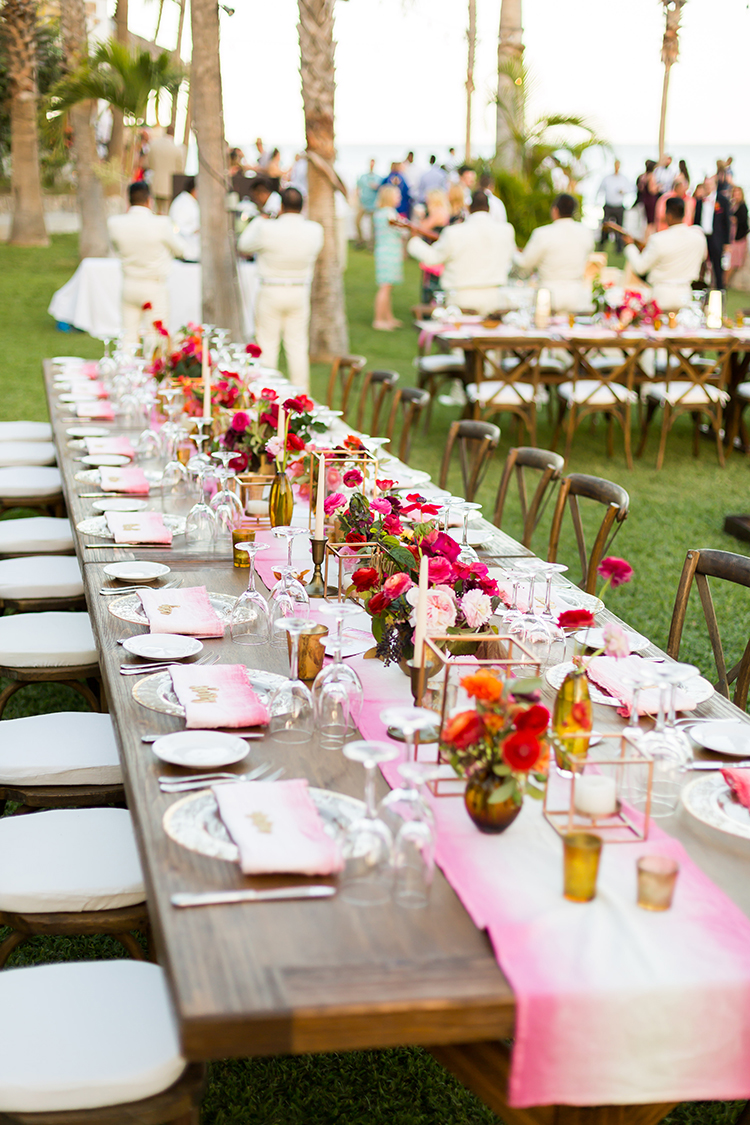 romantic tablescapes - photo by Ana and Jerome http://ruffledblog.com/summer-destination-wedding-in-mexico-with-bright-pinks