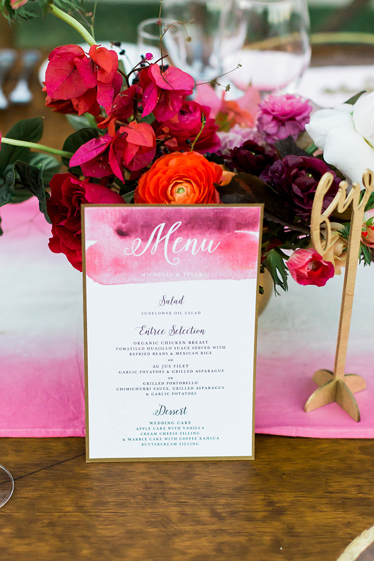 pink wedding paper goods - photo by Ana and Jerome http://ruffledblog.com/summer-destination-wedding-in-mexico-with-bright-pinks