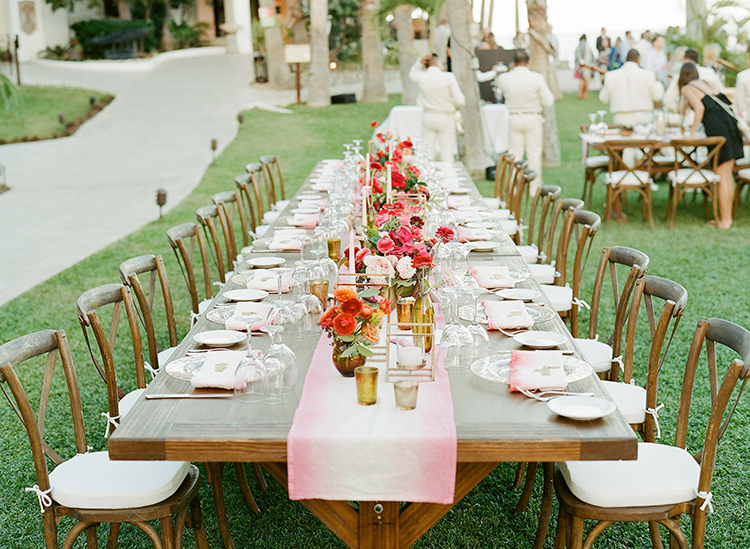wedding tables - photo by Ana and Jerome http://ruffledblog.com/summer-destination-wedding-in-mexico-with-bright-pinks