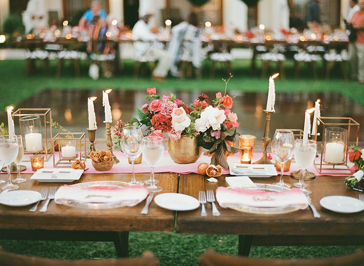 wedding tables - photo by Ana and Jerome https://ruffledblog.com/summer-destination-wedding-in-mexico-with-bright-pinks