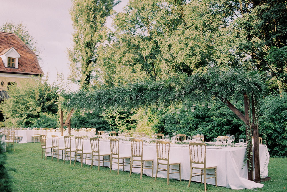 wedding tables - photo by Warm Photo http://ruffledblog.com/summer-love-wedding-in-austria
