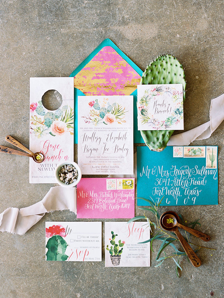 colorful pink and teal wedding invitations - photo by Charla Storey Photography https://ruffledblog.com/summer-loving-wedding-inspiration-with-a-fiesta-brunch
