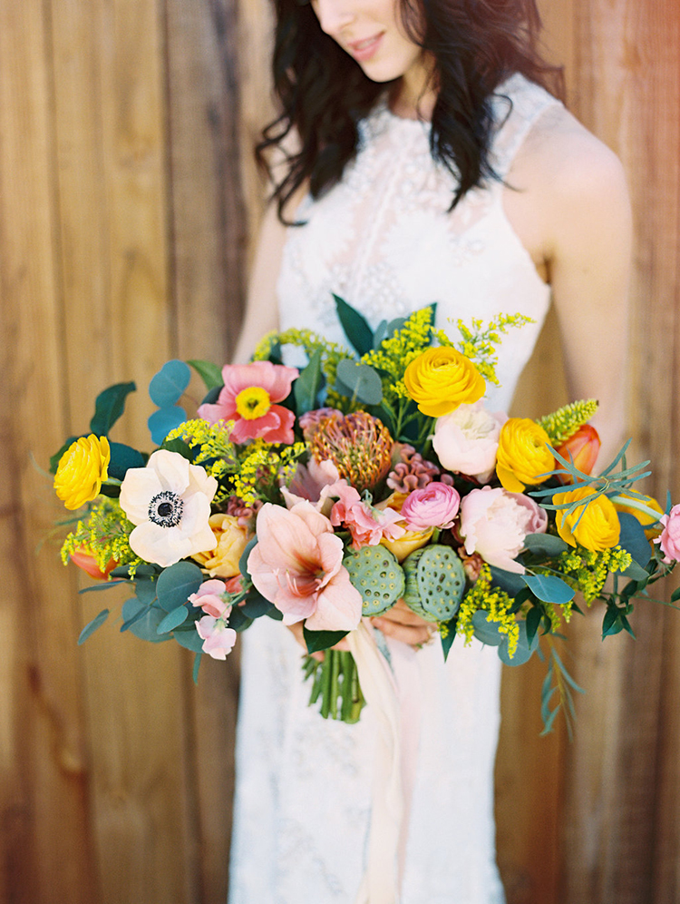 colorful summer bouquets - photo by Charla Storey Photography https://ruffledblog.com/summer-loving-wedding-inspiration-with-a-fiesta-brunch