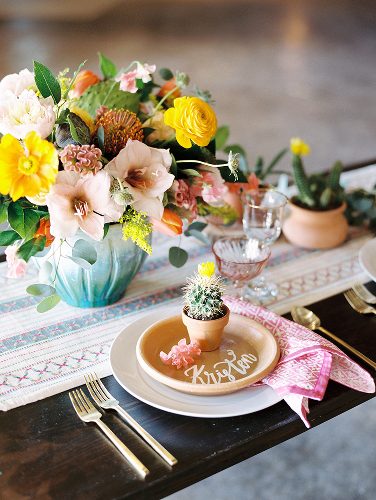 wedding ideas with cactus - photo by Charla Storey Photography https://ruffledblog.com/summer-loving-wedding-inspiration-with-a-fiesta-brunch