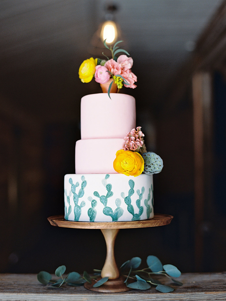 cactus wedding cakes - photo by Charla Storey Photography https://ruffledblog.com/summer-loving-wedding-inspiration-with-a-fiesta-brunch