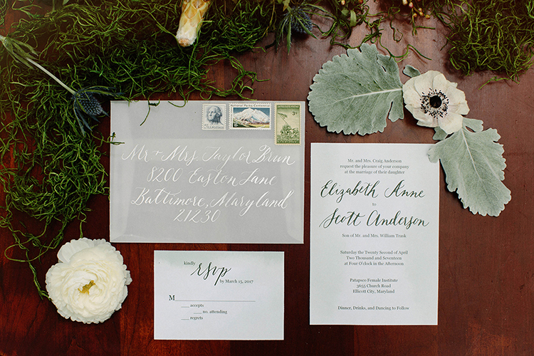 fall wedding invitations - photo by Elizabeth M Photography http://ruffledblog.com/summer-meets-fall-wedding-inspiration-in-the-woods