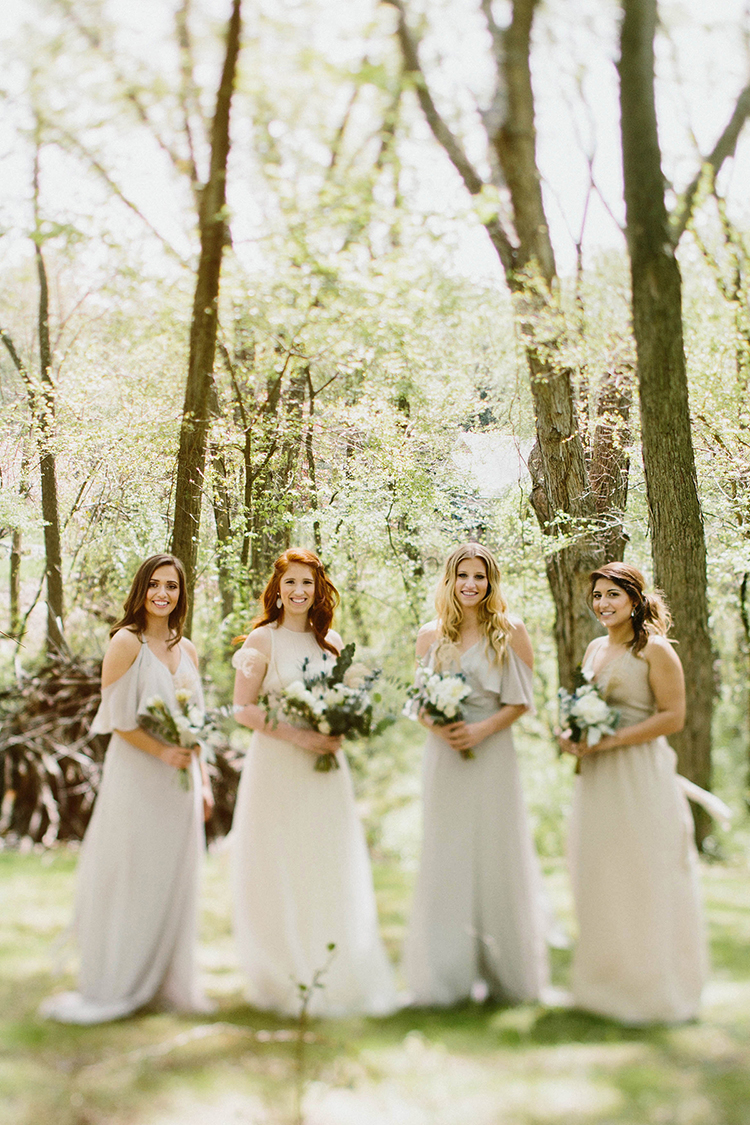 romantic bridesmaid portraits - photo by Elizabeth M Photography http://ruffledblog.com/summer-meets-fall-wedding-inspiration-in-the-woods