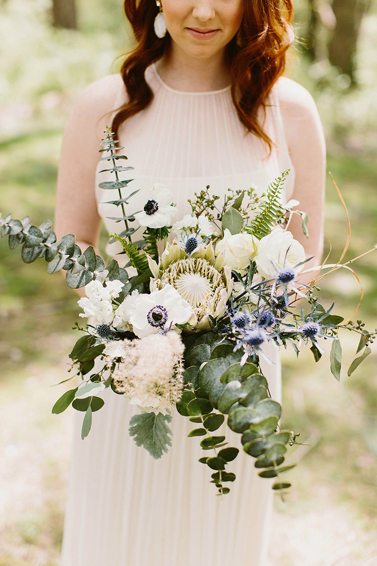 romantic bouquets with eucalyptus and anemones - photo by Elizabeth M Photography http://ruffledblog.com/summer-meets-fall-wedding-inspiration-in-the-woods