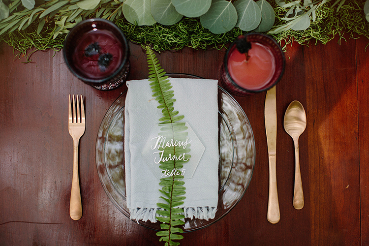 fall wedding table settings - photo by Elizabeth M Photography http://ruffledblog.com/summer-meets-fall-wedding-inspiration-in-the-woods