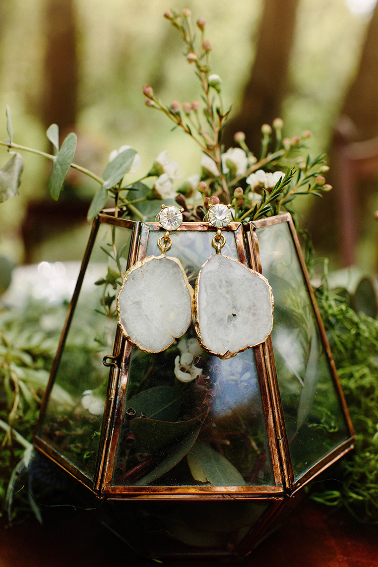 geode inspired wedding jewelry - photo by Elizabeth M Photography http://ruffledblog.com/summer-meets-fall-wedding-inspiration-in-the-woods