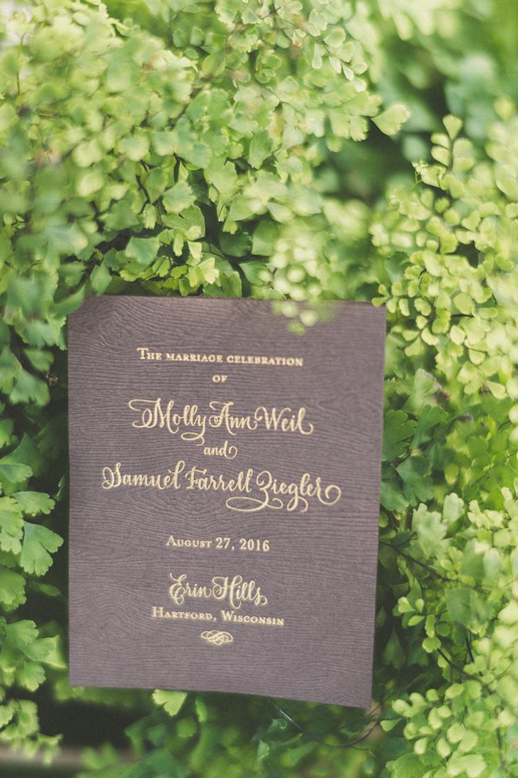 wedding paper goods - photo by Paper Antler http://ruffledblog.com/summer-sunset-wedding-in-wisconsin