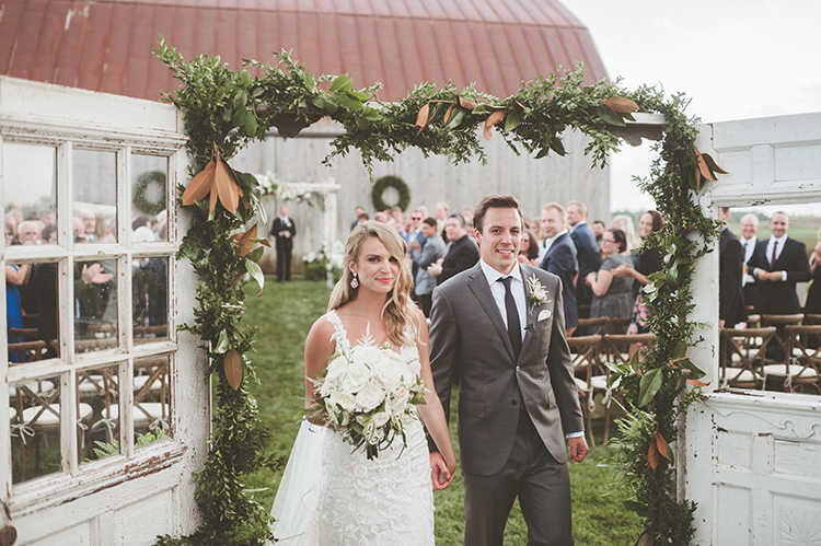 ceremony recessionals - photo by Paper Antler https://ruffledblog.com/summer-sunset-wedding-in-wisconsin