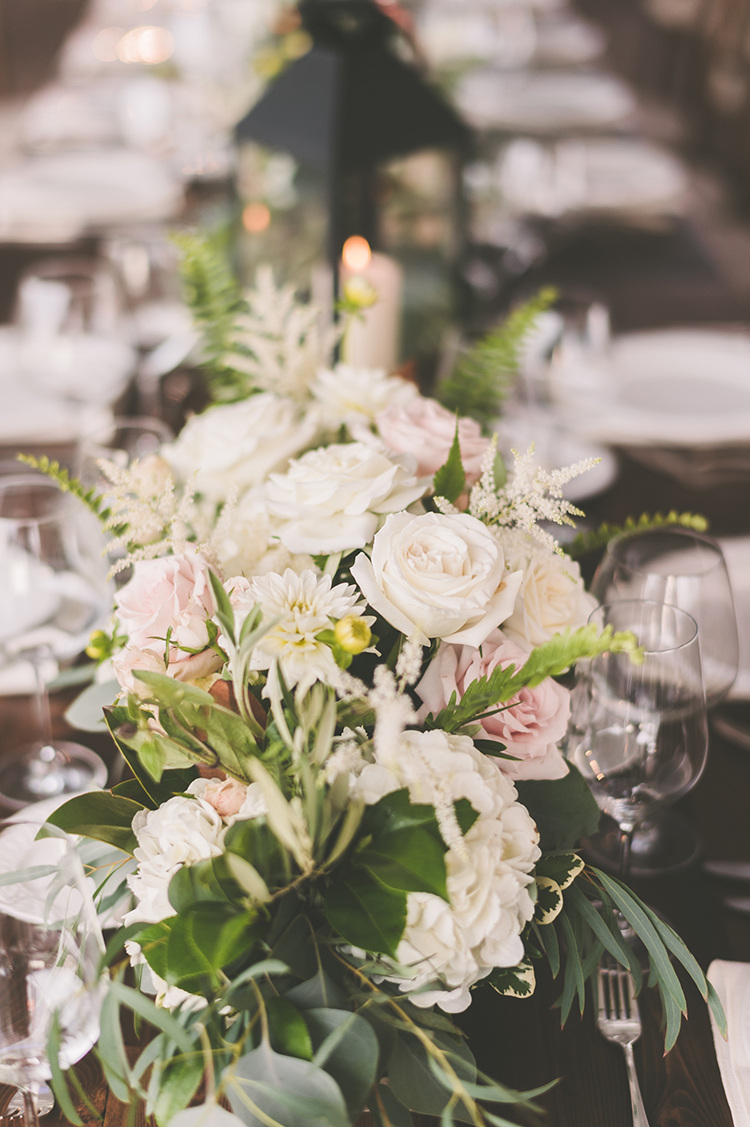 floral table runners - photo by Paper Antler http://ruffledblog.com/summer-sunset-wedding-in-wisconsin