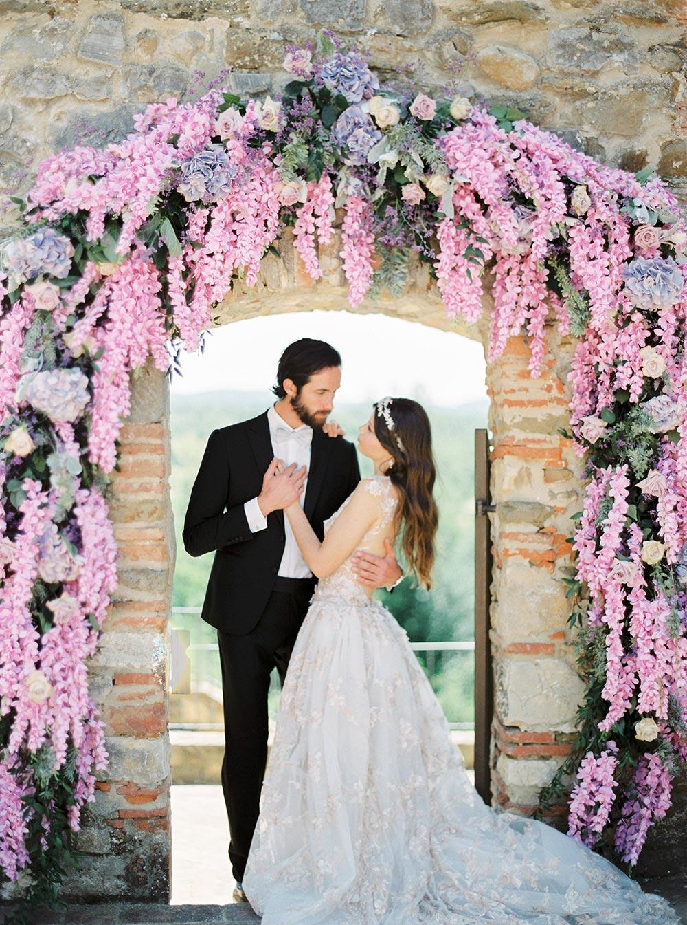 romantic wisteria wedding ceremony tuscany piazza