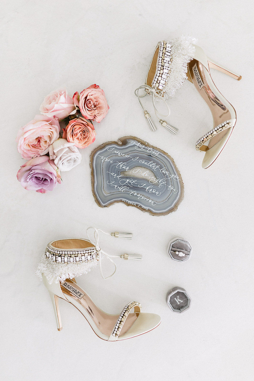bridal accessories with beaded heels