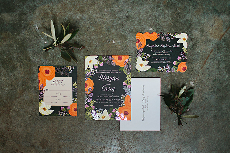 illustrated floral wedding invitations - https://ruffledblog.com/sweet-botanical-southern-wedding-with-metallic-accents