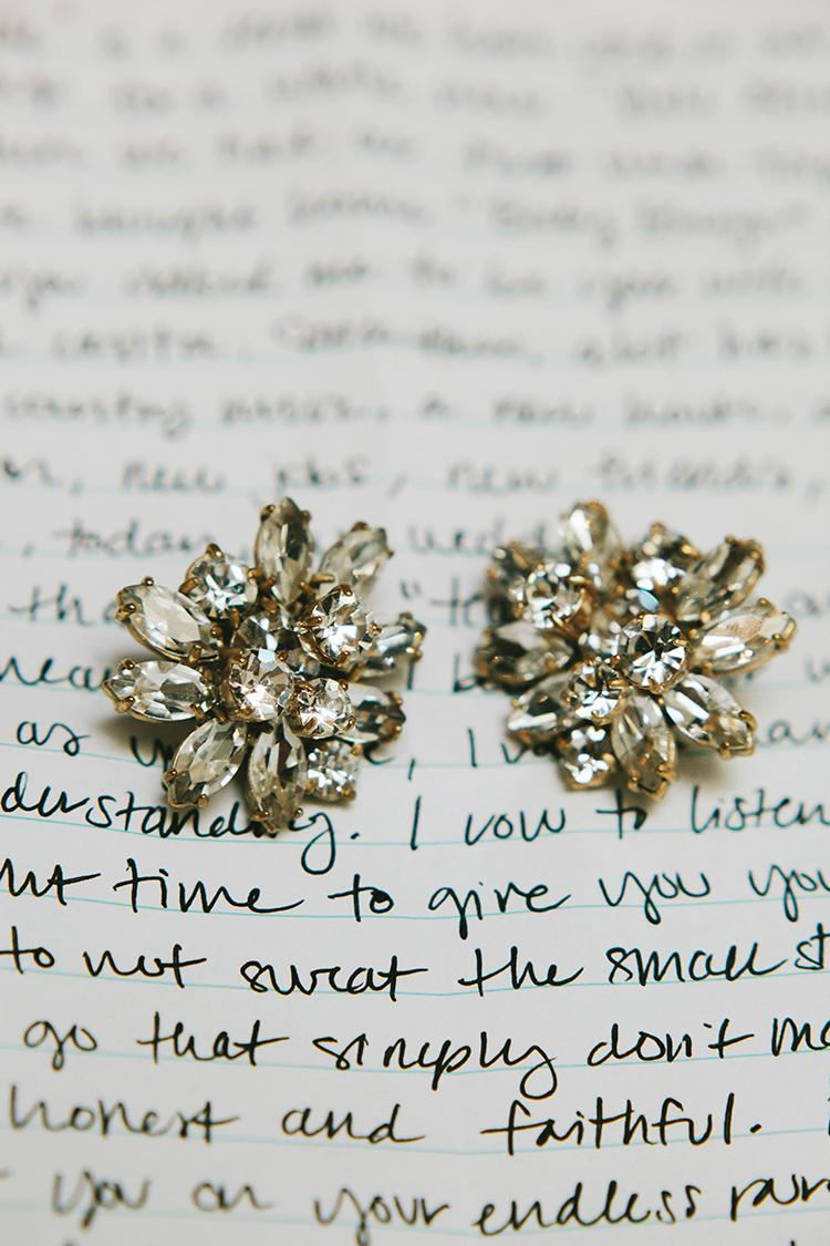 wedding jewelry - https://ruffledblog.com/sweet-botanical-southern-wedding-with-metallic-accents