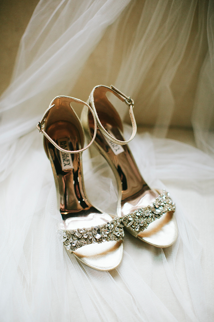 bejeweled wedding shoes - https://ruffledblog.com/sweet-botanical-southern-wedding-with-metallic-accents