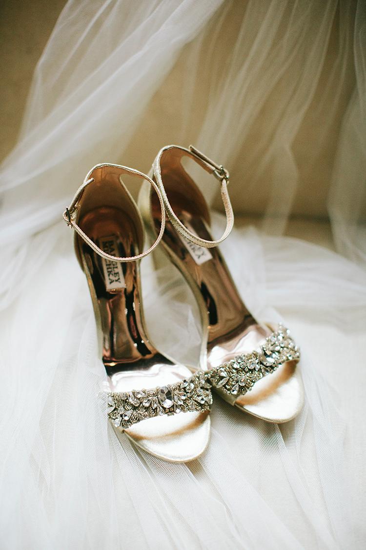 bejeweled wedding shoes - http://ruffledblog.com/sweet-botanical-southern-wedding-with-metallic-accents