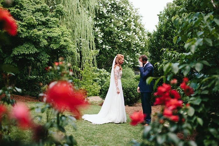 sweet wedding first looks - http://ruffledblog.com/sweet-botanical-southern-wedding-with-metallic-accents