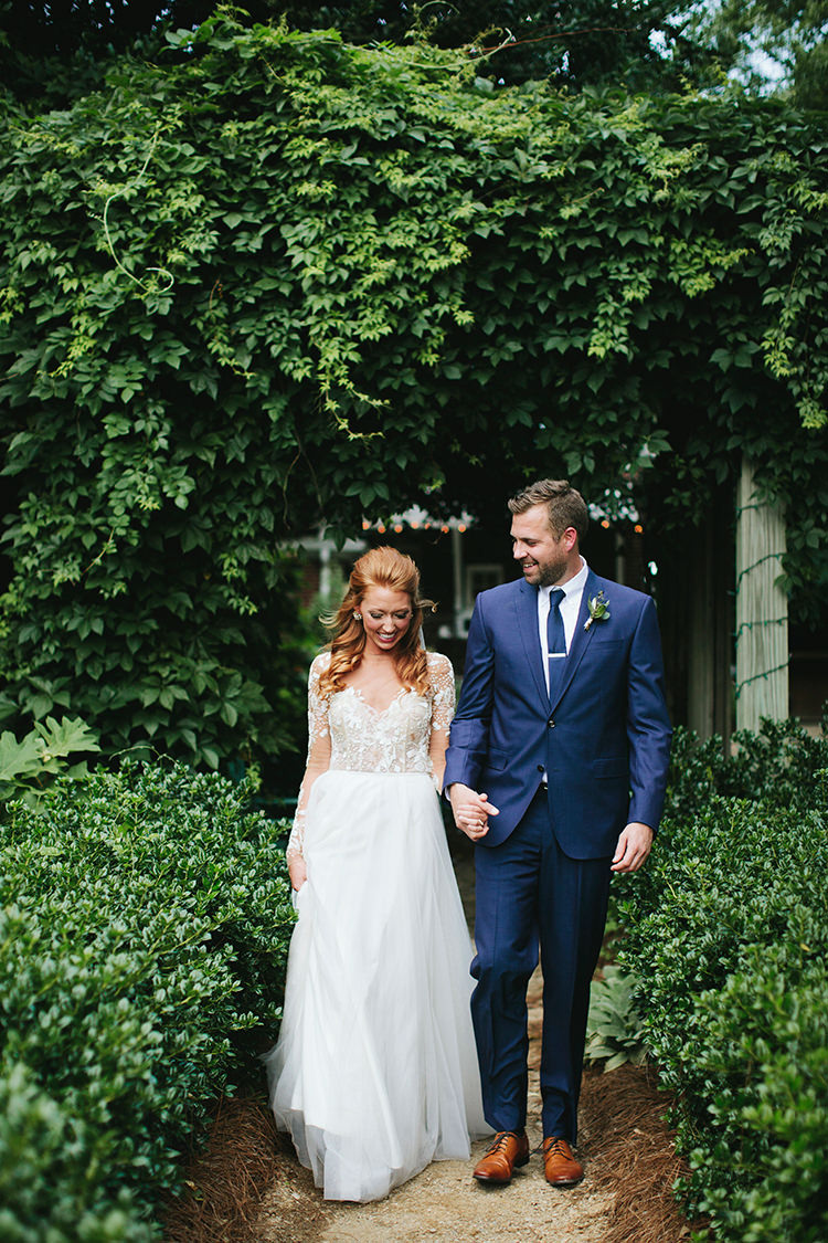 romantic wedding gowns - http://ruffledblog.com/sweet-botanical-southern-wedding-with-metallic-accents