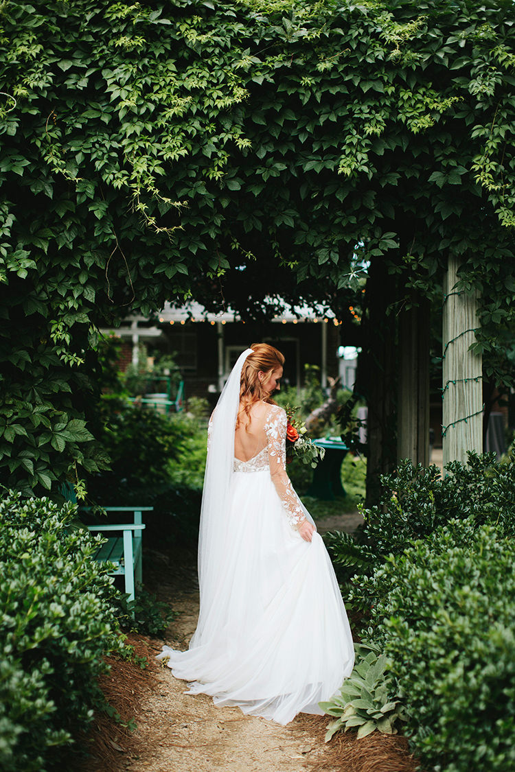 beautiful lace sleeve Hayley Paige wedding gowns - https://ruffledblog.com/sweet-botanical-southern-wedding-with-metallic-accents