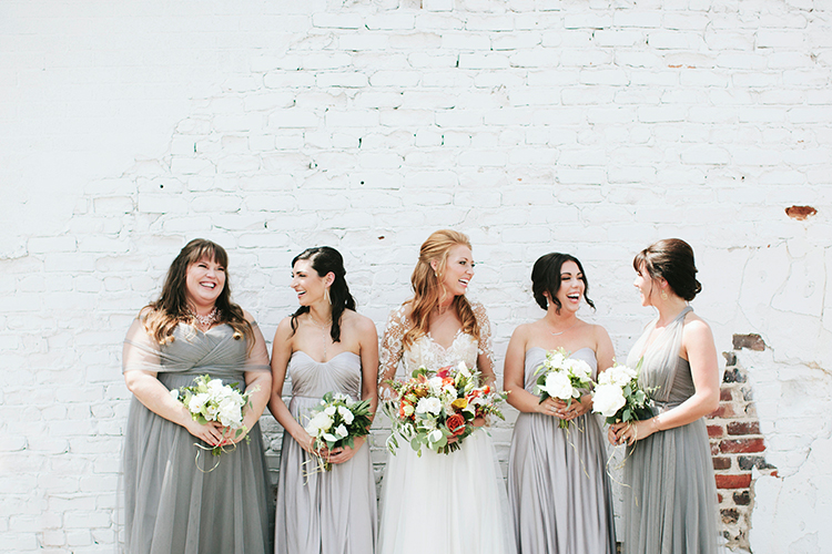 grey bridesmaid dresses - https://ruffledblog.com/sweet-botanical-southern-wedding-with-metallic-accents