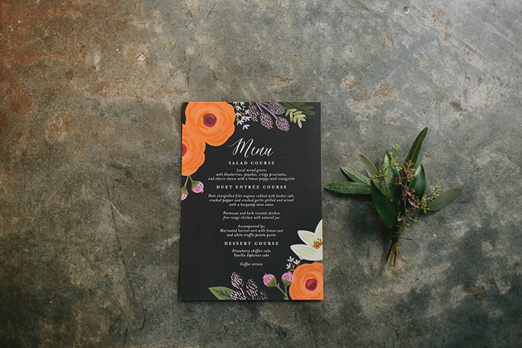 romantic floral wedding paper goods - https://ruffledblog.com/sweet-botanical-southern-wedding-with-metallic-accents