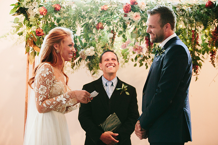 wedding ceremonies - http://ruffledblog.com/sweet-botanical-southern-wedding-with-metallic-accents
